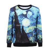 Free shipping New Arrival STARRY NIGHT Loose Long Sleeve Hoody Digital Printed Sweatshirt For Women