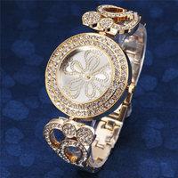2014 new fahion retro casual crystal rhinestone flower clock women ladies luxury bracelet gold wrist dress quartz watch