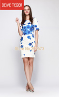 (DEIVE TEGER)  brand Fashion Summer print  floral pattern  women  slim bodycon elegant casual dresses short sleeve  DT1600
