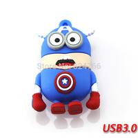 New Cartoon Despicable Me Minions Captain American USB 3.0 Flash Drives Pen Drive USB Memory 8gb 16gb 32gb 64gb free shipping