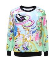 Wholesale 2014 NEW Adventure Time Sport Suit Hoody Digital Printed Men Women 3D Sweatshirt