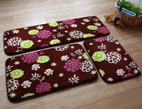 3pcs bedroom floor mats sets Fashion elastic rustic coral fleece mat bathroom waste-absorbing slip-resistant mats carpet HD1007
