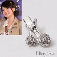 headdress full cz diamond sweet cherry metallic edge clip hairpin hair accessories wholesale