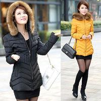 2014 New Women Ladies Faux Fur Hooded Jacket Warm Winter Zip Up Slim Parka Coat Outerwear M-XXXL Plus Size Free Shipping