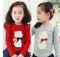Min. Qty any 2pcs in shop Size 100~140 Kids Tops tees girls Cartoon Long Sleeves T shirt Children T-Shirts cat