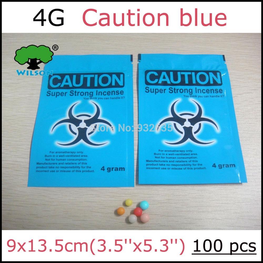 Empty bag 100 PCS  Caution blue  potpourri smoke bags ziplock  plastic packaging herbal incense bags for 4g(China (Mainland))
