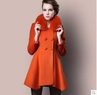 2014 fashion autumn and winter fox fur woolen outerwear woolen overcoat medium-long cashmere overcoat