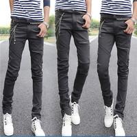 2014 new men's casual streth slim pencil wild grey denim jeans trousers pants