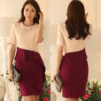 Free shipping 2014 women Career pure cotton dress Plus Size S-XXL Short Sleeve Elegant Knee-Length Bodycon Formal Ruffles Dress
