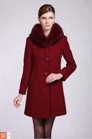 Wool quality wool coat fox fur slim medium-long overcoat female outerwear