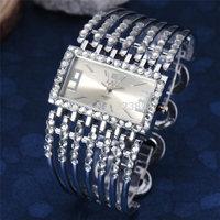 new 2014 fashion silver women bracelet wristwatches luxury classic top brand crystal rhinestone wrist quartz dress watch 4659