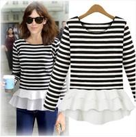 High Quality 2014 Autumn  New Women's Blouse T-shirt Long Sleeve T-shirt Slim Size Bottoming Shirt Chiffon ShirtFemale 3051