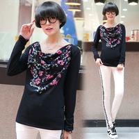 T for x2 05 female autumn 2014 100% cotton slit neckline doodle print national trend long-sleeve T-shirt female