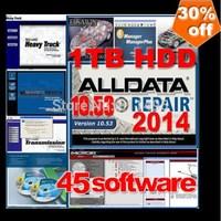 Newest alldata and mitchell 45in1 2014 alldata v10.53 + mitchell on demand 2014+ESI+ATSG+ETKA+vivid+ELSA4.1+WIS+med& heavy truck