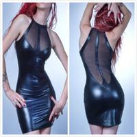 Plus Size 2014 Sexy Catsuit PVC Faux Leather Lace Bodycon DS Dress,Club Wear Dancing Dress For Women