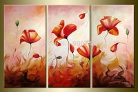 Hand Painted Flower Oil Painting On Canvas Modern Art Home Decoration 3 Pieces Painting Road Free Shipping