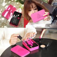 Super Quality Mini 7 PCS Red Handle Synthetic Hair Base Makeup Brush Set Cosmetic Brushes Kit W/ Iron Box Dropshipping!