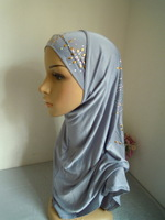 New Style Crystal Linen  2-pcs Set Muslim Hijabs with inner caps Muslim Scarf Islamic Hijab Free Shipping  Assorted Colors