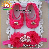 New Queen Rhinestone/pearl Crown Baby shoes Headband set,shabby flower shoes girls,Hot pink Crib first walkers #2T0010 3 set/lot
