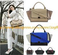 Hot Women Brand High Quality Leather Handbags Autumn Winter Vintage Trapeze Bat Ear Smile Shoulder Bags Messenger Bags