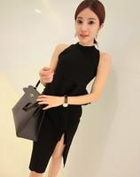 Free Shipping 2014 HOT SALE Women Spring Summer New Fashion Halter Tops Split Skirt Suit R20