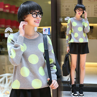 My1006 2014 autumn casual loose polka dot thickening long-sleeve sweater female