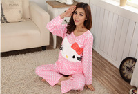 Autumn 2014 pijamas women Cotton feminino Sets Ladies Hello Kitty Nightgown Cartoon for Home Wear Plus Size Sleepwear