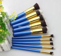 Fashion Makeup Brush Tool 10 pcs Blue Synthetic Make Up Brush set Eyes Facail Brushes, Free shipping