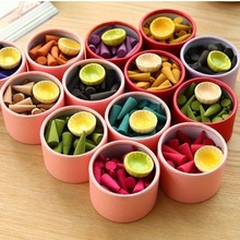 Natural fragrant incense pagoda Perfume suits indoor spices Sandalwood incense cone with tray(about 45-50pcs/set)(China (Mainland))