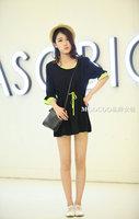 Plus Size L,XL,2XL Women Casual Drawstring Black Cotton Dress Free Shipping a0050