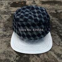 5 panel blank camp cap High quality 3D pattern denim crown silver leather brim custom headwear snapback cap baseball hat