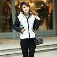 2014 new Korean women down cotton dot coat women warm winter hooded jacket Free Shipping W054