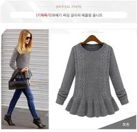 Hot Sale 2014 Hitz ladies European Retro Skirt Hemp Flowers Crewneck Sweater Female Turtleneck Sweater Autumn 9151