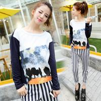 Sxe1018 2014 pullover print 100% patchwork cotton long-sleeve basic shirt t-shirt female
