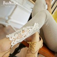 4 Colors Plus Size Autumn-Winter Womens Elastic Waist Lace Slim Leggings Lady Casual Applique Thin Trousers&Leggings