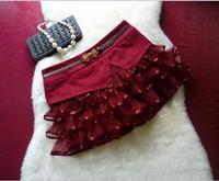 New Winter Woolen and Organza Ruffles Hem Women Winter Skirt Short Woolen Skater Skirt with Safety Pants