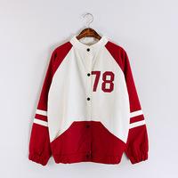New 2014 autumn women coat letter printed color block plus size college baseball jackets  3colors