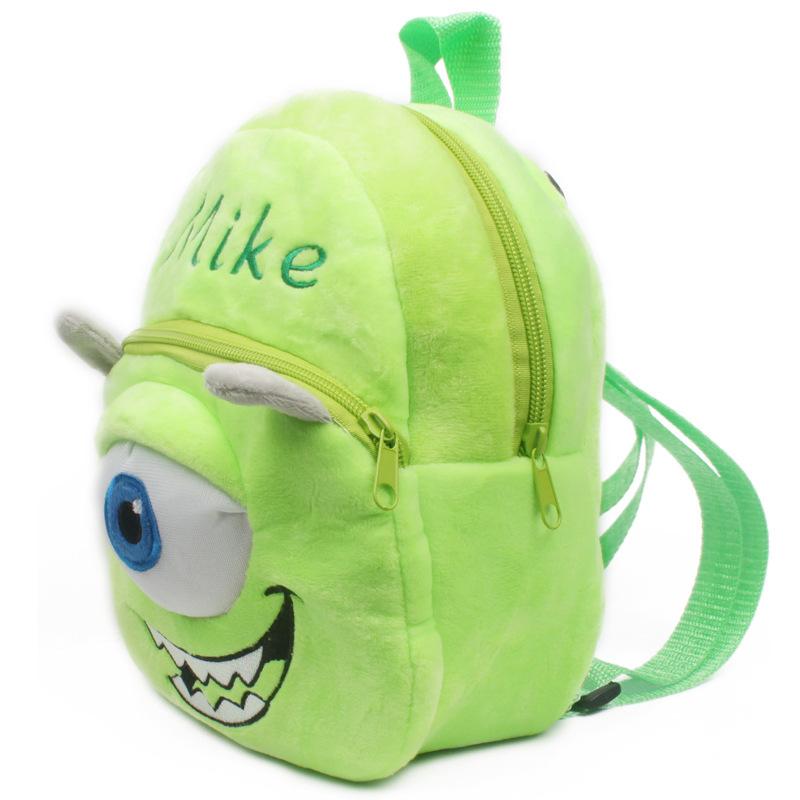 2015 New 3D design character baby school bags children Monsters University backpacks kids 3D cartoon MIKE backpacks, I096(China (Mainland))