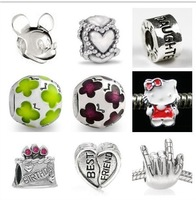 Wholesale-High quality.New arrivals Silver Jewelry Big Hole loose Beads Fit 3MM Bracelets.100pcs Mixed many style   HOT0025
