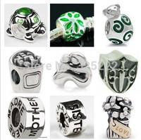 300pcs/lot DIY Loose beads 925 silver Breast Cancer Charm Awareness Bead Topaz Crystal Euro Bead Gift    HOT0038