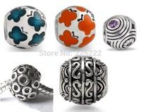 30pcs/lot DIY Loose beads 925 silver Breast Cancer Charm Awareness Bead Topaz Crystal Euro Bead Gift    HOT0034