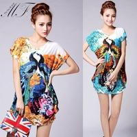 Big Size T-Shirt Causal Ladies Print Peacock Animal Plus Size Women Clothing T Shirt blusas femininas 2014 Drop Shipping