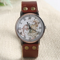 Vintagt fashion Europe wrist watch with map pattern women's quartz leather band wrist watch Brown Color