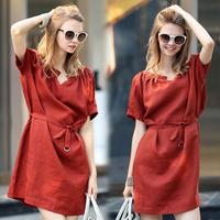 autumn summer Dress 2014 Korean Short Sleeve V-Neck Pleated Casual Dress women Plus Szie Linen Dress Women Vestidos de festa