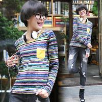 Tx595 2014 autumn women's color stripe o-neck long-sleeve T-shirt female
