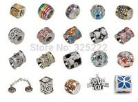 500pcs/lot DIY Loose beads 925 silver Breast Cancer Charm Awareness Bead Topaz Crystal Euro Bead Gift    HOT0039