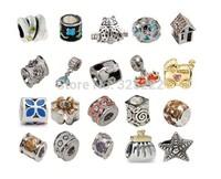 200pcs/lot DIY Loose beads 925 silver Breast Cancer Charm Awareness Bead Topaz Crystal Euro Bead Gift    HOT0037