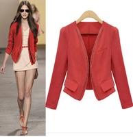 Black/Red casacos femininos Fashion 2014 women Coat Short Jackets brand Lady's Blazer Cardigan woman clothes jaqueta feminina