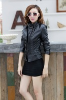 2014 show thin collar short female jacket to cool a motorcycle leather PU coat