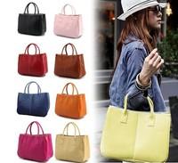 women genuine leather tote handbag fashion designer candy color shoulder bags